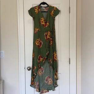 Green Floral high low Wrap Dress